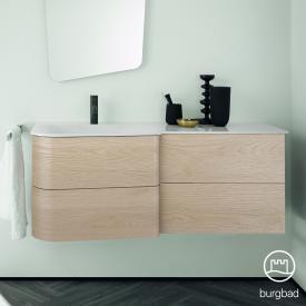 Burgbad Badu Waschtisch mit Waschtischunterschrank mit 4 Auszügen Front eiche cashmere dekor / Korpus eiche cashmere dekor, Griffleiste anthrazit, Waschtisch weiß