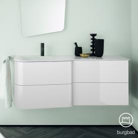 Burgbad Badu Waschtisch mit Waschtischunterschrank mit 4 Auszügen Front weiß hochglanz / Korpus weiß hochglanz, Griffleiste anthrazit, Waschtisch weiß