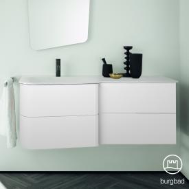 Burgbad Badu Waschtisch mit Waschtischunterschrank mit 4 Auszügen Front weiß matt / Korpus weiß matt, Griffleiste anthrazit, WT weiß samt