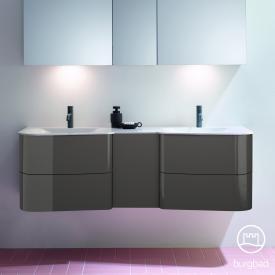 Burgbad Badu Doppelwaschtisch mit Waschtischunterschrank mit 4 Auszügen Front anthrazit hochglanz / Korpus anthrazit hochglanz, Griffleiste anthrazit, Waschtisch weiß