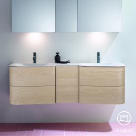 Burgbad Badu Doppelwaschtisch mit Waschtischunterschrank mit 4 Auszügen Front eiche cashmere dekor / Korpus eiche cashmere dekor, Griffleiste anthrazit, WT weiß samt