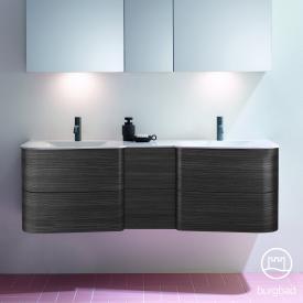 Burgbad Badu Doppelwaschtisch mit Waschtischunterschrank mit 6 Auszügen Front hacienda schwarz / Korpus hacienda schwarz, Griffleiste anthrazit, WT weiß