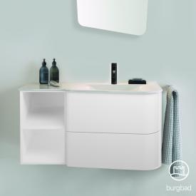 Burgbad Badu Waschtisch mit Waschtischunterschrank mit 2 Auszügen Front weiß matt / Korpus weiß matt, Griffleiste anthrazit, Waschtisch weiß