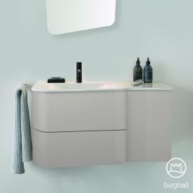 Burgbad Badu Waschtisch mit Waschtischunterschrank mit 2 Auszügen Front leinengrau hochglanz / Korpus leinengrau hochglanz, Griffleiste anthrazit, Waschtisch weiß