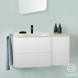 Burgbad Badu Waschtisch mit Waschtischunterschrank mit 2 Auszügen Front weiß matt / Korpus weiß matt, Griffleiste anthrazit, WT weiß samt