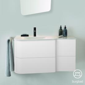Burgbad Badu Waschtisch mit Waschtischunterschrank mit 4 Auszügen Front weiß matt / Korpus weiß matt, Griffleiste anthrazit, Waschtisch weiß