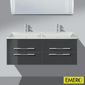 Burgbad Bel Doppelwaschtisch mit Waschtischunterschrank mit 4 Auszügen Front anthrazit hochglanz/Korpus anthrazit hochglanz/Waschtisch weiß