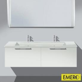 Burgbad Bel Doppelwaschtisch mit Waschtischunterschrank mit 2 Auszügen Front weiß matt/Korpus weiß matt/Waschtisch weiß