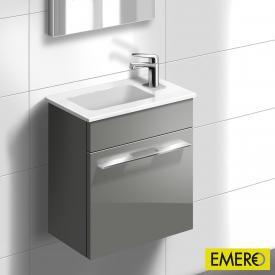 Burgbad Bel Handwaschbecken mit Waschtischunterschrank mit 1 Tür Front grau hochgl./Korpus grau hochgl./Waschtisch weiß