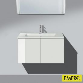 Burgbad Bel Waschtischunterschrank mit 2 Türen und Waschtisch Front weiß hochgl./Korpus weiß hochgl./WT weiß