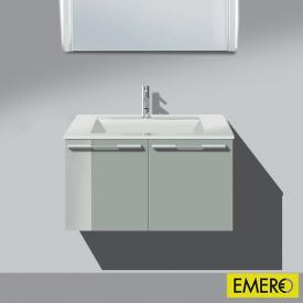 Burgbad Bel Waschtischunterschrank mit 2 Türen und Waschtisch Front lichtgrau hochgl./Korpus lichtgrau hochgl./WT weiß