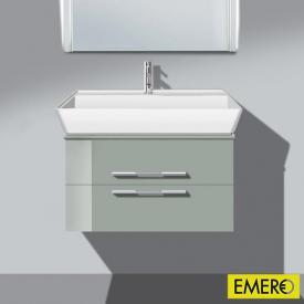 Burgbad Bel Waschtischunterschrank mit 2 Auszügen und Waschtisch Front lichtgrau hochgl./Korpus lichtgrau hochgl./WT weiß