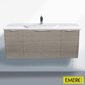 Burgbad Cala 2.0 Waschtischunterschrank mit Waschtisch und 3 Auszügen Front eiche flanell dekor / Korpus eiche flanell dekor / WT weiß samt