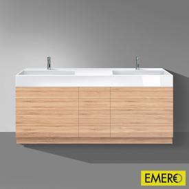 Burgbad Crono Doppelwaschtisch mit Waschtischunterschrank mit 9 Auszügen Front bambus / Korpus bambus/Waschtisch weiß