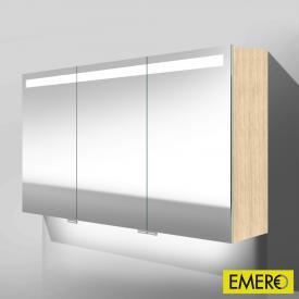 Burgbad Crono Spiegelschrank mit LED-Beleuchtung mit 3 Türen eiche fineline hell, mit Waschtischbeleuchtung