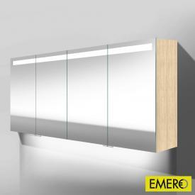 Burgbad Crono Spiegelschrank mit LED-Beleuchtung mit 4 Türen eiche fineline hell, mit Waschtischbeleuchtung