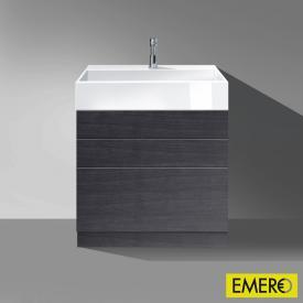 Burgbad Crono stehender Waschtischunterschrank, 3 Auszüge, Waschtisch weiß Front eiche schwarz / Korpus eiche schwarz/WT weiß