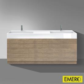 Burgbad Crono Waschtisch mit Waschtischunterschrank mit 9 Auszügen Front eiche hellgrau / Korpus eiche hellgrau/WT weiß