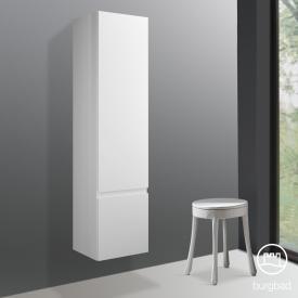 Burgbad Cube Hochschrank mit 1 Tür und 1 Wäschekippe Front weiß matt / Korpus weiß matt