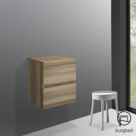 Burgbad Cube Unterschrank mit 2 Auszügen Front frassino cappuccino dekor / Korpus frassino cappuccino dekor