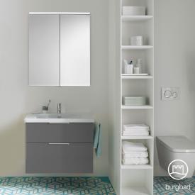 Burgbad Eqio Badmöbel-Set 1, Waschtisch mit Waschtischunterschrank und Spiegelschrank Front grau hochglanz / Korpus grau glanz, Griff chrom