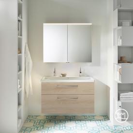 Burgbad Eqio Badmöbel-Set 2, Waschtisch mit Waschtischunterschrank und Spiegelschrank Front eiche cashmere dekor / Korpus eiche cashmere dekor, Stangengriff chrom