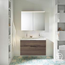 Burgbad Eqio Badmöbel-Set 2, Waschtisch mit Waschtischunterschrank und Spiegelschrank Front marone trüffel dekor / Korpus marone trüffel dekor, Griff schwarz matt