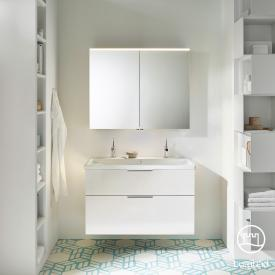 Burgbad Eqio Badmöbel-Set 2, Waschtisch mit Waschtischunterschrank und Spiegelschrank Front weiß hochglanz / Korpus weiß glanz, Griff chrom