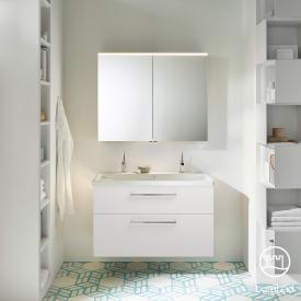 Burgbad Eqio Badmöbel-Set 2, Waschtisch mit Waschtischunterschrank und Spiegelschrank Front weiß hochglanz / Korpus weiß glanz, Stangengriff chrom