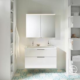 Burgbad Eqio Badmöbel-Set 2, Waschtisch mit Waschtischunterschrank und Spiegelschrank Front weiß hochglanz / Korpus weiß glanz, Griff schwarz matt