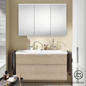 Burgbad Eqio Badmöbel-Set 4 Waschtisch mit Waschtischunterschrank und Spiegelschrank Front eiche cashmere dekor / Korpus eiche cashmere dekor, Griff chrom