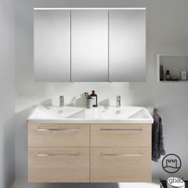 Burgbad Eqio Badmöbel-Set 5 Doppel-Waschtisch mit Waschtischunterschrank und Spiegelschrank Front eiche cashmere dekor / Korpus eiche cashmere dekor, Stangengriff chrom
