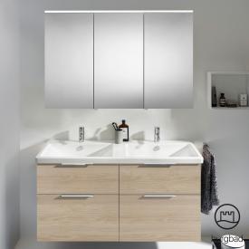 Burgbad Eqio Badmöbel-Set 5 Doppel-Waschtisch mit Waschtischunterschrank und Spiegelschrank Front eiche cashmere dekor / Korpus eiche cashmere dekor, Griff chrom