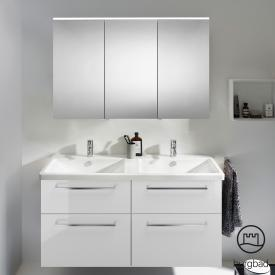 Burgbad Eqio Badmöbel-Set 5 Doppel-Waschtisch mit Waschtischunterschrank und Spiegelschrank Front weiß hochglanz / Korpus weiß glanz, Stangengriff chrom