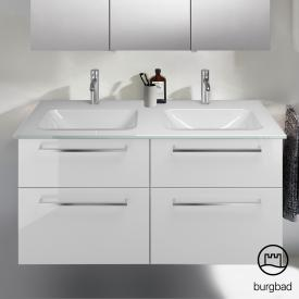Burgbad Eqio Doppel-Waschtisch mit Waschtischunterschrank mit 4 Auszügen Front weiß hochglanz / Korpus weiß glanz, Stangengriff chrom