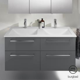 Burgbad Eqio Doppel-Waschtisch mit Waschtischunterschrank mit 4 Auszügen Front grau hochglanz / Korpus grau glanz, Stangengriff chrom