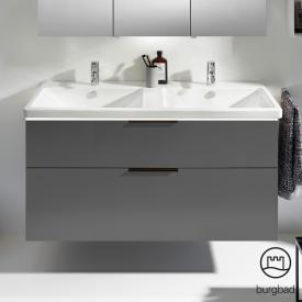Burgbad Eqio Doppel-Waschtisch mit Waschtischunterschrank mit LED-Beleuchtung mit 2 Auszügen Front grau hochglanz / Korpus grau glanz / Griff schwarz matt