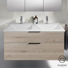 Burgbad Eqio Doppelwaschtisch mit Waschtischunterschrank mit 2 Auszügen Front eiche flanell dekor / Korpus eiche flanell dekor, Griff schwarz matt