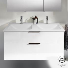 Burgbad Eqio Doppelwaschtisch mit Waschtischunterschrank mit 2 Auszügen Front weiß hochglanz / Korpus weiß glanz, Griff schwarz matt