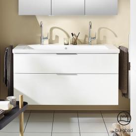 Burgbad Eqio Doppelwaschtisch mit Waschtischunterschrank mit 2 Auszügen Front weiß hochglanz / Korpus weiß glanz, Griff chrom