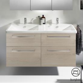 Burgbad Eqio Doppelwaschtisch mit Waschtischunterschrank mit 4 Auszügen Front eiche flanell dekor / Korpus eiche flanell dekor, Stangengriff chrom