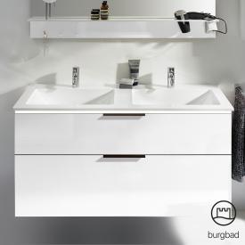 Burgbad Eqio Doppelwaschtisch mit Waschtischunterschrank mit LED-Beleuchtung mit 2 Auszügen Front weiß hochglanz / Korpus weiß glanz, Griff schwarz matt