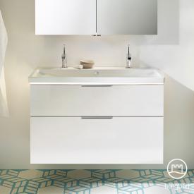 Burgbad Eqio Doppelwaschtisch mit Waschtischunterschrank mit LED-Beleuchtung mit 2 Auszügen Front weiß hochglanz / Korpus weiß glanz, Griff chrom