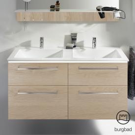 Burgbad Eqio Doppelwaschtisch mit Waschtischunterschrank mit LED-Beleuchtung mit 4 Auszügen Front eiche cashmere dekor / Korpus eiche cashmere dekor, Stangengriff chrom