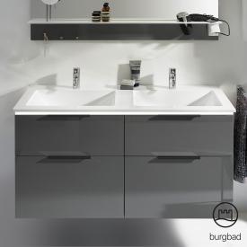 Burgbad Eqio Doppelwaschtisch mit Waschtischunterschrank mit LED-Beleuchtung mit 4 Auszügen Front grau hochglanz / Korpus grau glanz, Griff schwarz matt