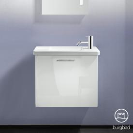 Burgbad Eqio Handwaschbecken mit Waschtischunterschrank mit 1 Klappe Front weiß hochglanz / Korpus weiß glanz, Stangengriff chrom