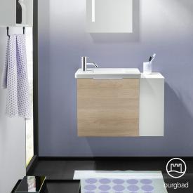 Burgbad Eqio Handwaschbecken mit Waschtischunterschrank mit 1 Klappe mit offenem Fach Front eiche cashmere dekor / Korpus eiche cashmere dekor, Griff chrom
