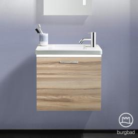 Burgbad Eqio Handwaschbecken mit Waschtischunterschrank mit LED-Beleuchtung mit 1 Klappe Front frassino cappuccino dekor / Korpus frassino cappuccino dekor, Stangengriff chrom