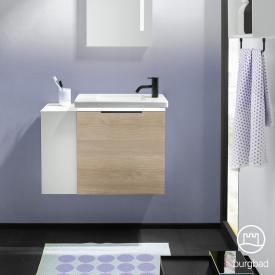 Burgbad Eqio Handwaschbecken mit Waschtischunterschrank mit LED-Beleuchtung mit 1 Klappe mit offenem Fach Front eiche cashmere dekor / Korpus eiche cashmere dekor, Griff schwarz matt