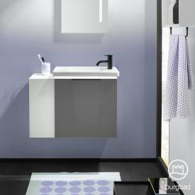Burgbad Eqio Handwaschbecken mit Waschtischunterschrank mit LED-Beleuchtung mit 1 Klappe mit offenem Fach Front grau hochglanz / Korpus grau glanz, Griff schwarz matt